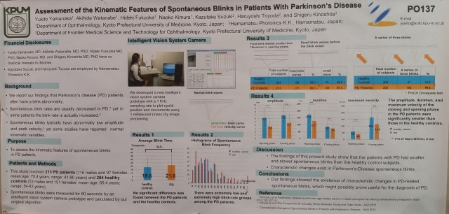 Assessment if the Kinematic Features of Spontaneous Blinks in Patients with Parkinsons Disease #AAO2015