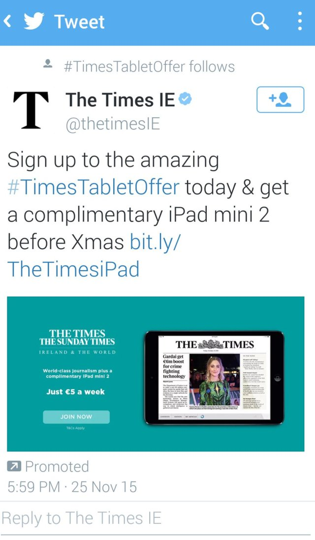 iPad 2 gift offer with Times subscription