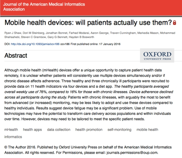 Journal of the AMIA Mobile Health Devices will Patients actually use them