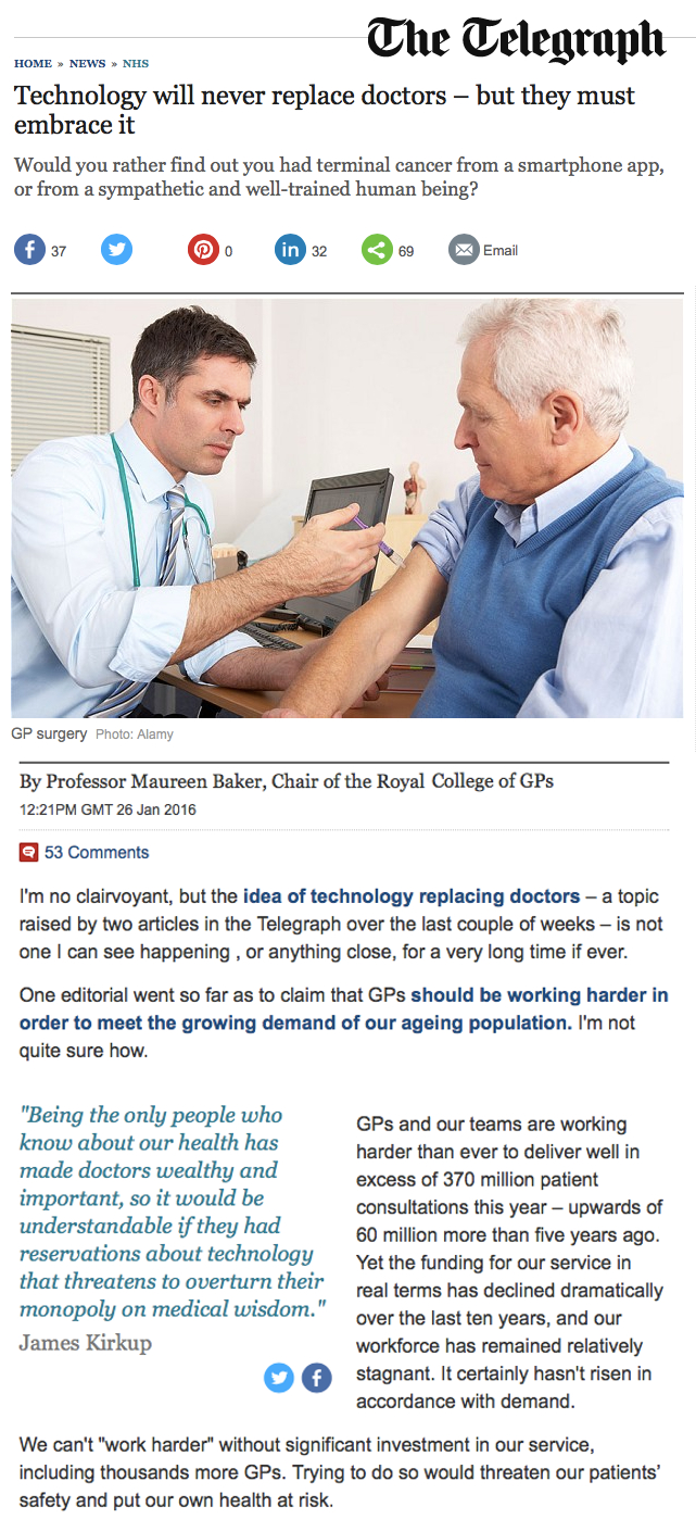 Technology will never replace doctors but they must embrace it
