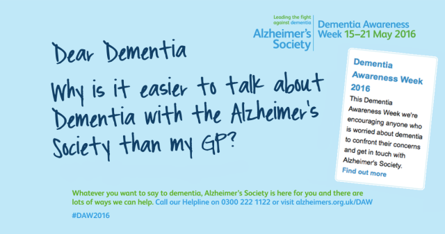DementiaAwarenessWeek Why is it so difficult to talk to my GP about this