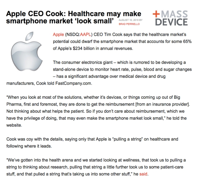 MASSDevice Apple CEO mHealth