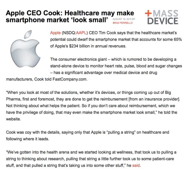 MASSDevice Apple CEO mHealth