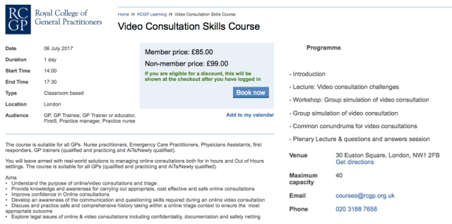 RCGP Video Consultation Course 6 July 2017
