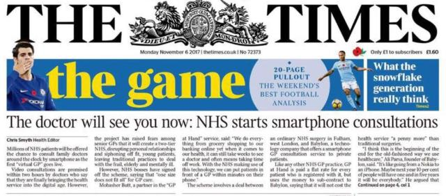 THe doctor will see you now The Times 6 November 2017