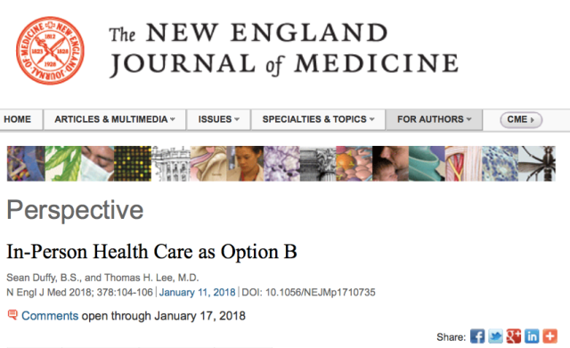 NEJM: In-Person Health Care as Option B | mHealth Insight